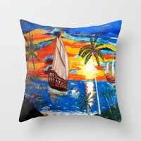 pirates Throw Pillows featuring PIRATES by Aat Kuijpers