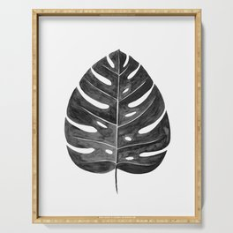 Monstera Leaf | Black and White Serving Tray