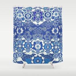 Boujee Boho Deep Blue Elegant Lace Shower Curtain