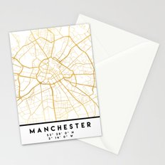 MANCHESTER ENGLAND CITY STREET MAP ART Stationery Cards