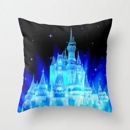 Blue Ice Frozen Enchanted Castle Throw Pillow