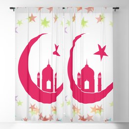 Mosque dome and minaret silhouette Blackout Curtain