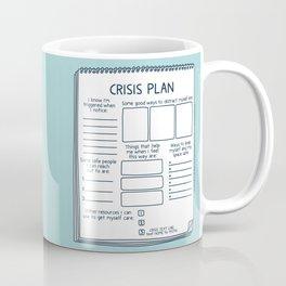 Blank Crisis Safety Plan Reference Art for Therapists, Social Workers, & Counselors Coffee Mug
