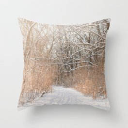 Snow Covered Trails Throw Pillow