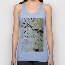 Amsterdam Gold on Black Street Map Unisex Tank Top