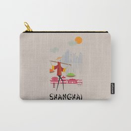 Shanghai - In the City - Retro Travel Poster Design Carry-All Pouch