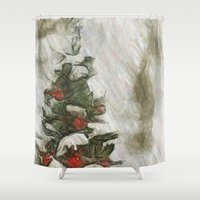 xmas Shower Curtains featuring xmas tree by Julia Kovtunyak