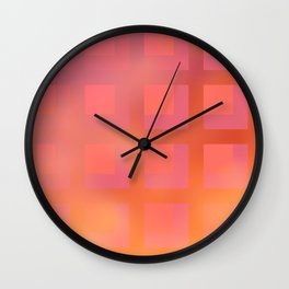 Soft Coral and Gold Plaid Wall Clock