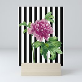 Pink Peony Black Stripes Chic Mini Art Print