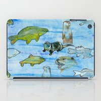 otters iPad Cases featuring Otters and Carp by PA'LANE