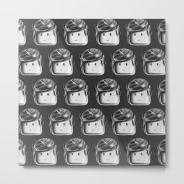 Minifigure Pattern - Dark Grey Metal Print