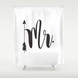 Mr script arrow engaged married Mr & Mrs Shower Curtain