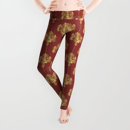 Gold damask flowers and pearls on red background Leggings