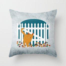 Orange Cat Picket Fence Throw Pillow