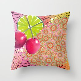 Candied Fruities, Flowered Cooties Throw Pillow