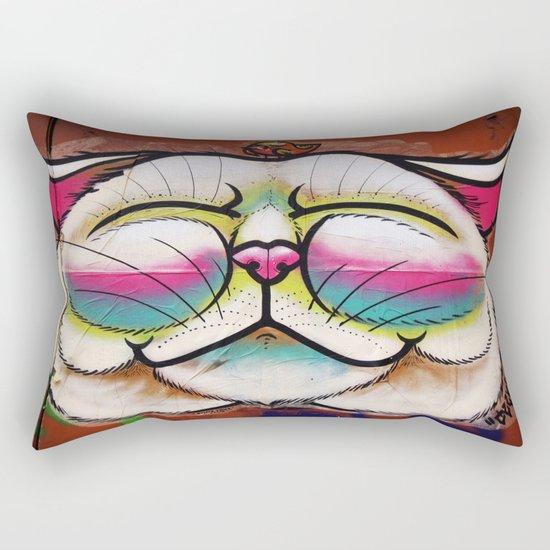 Smiling Cat & Bird Rectangular Pillow