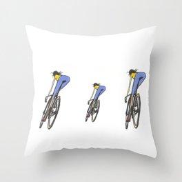 long leg bike girl Throw Pillow