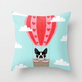 Boston Terrier dog breed hot air balloon dog art Throw Pillow