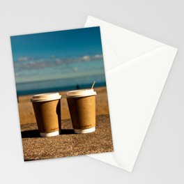 coffee at the beach Stationery Cards