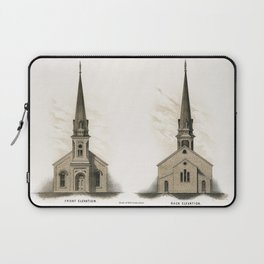 Illustration of a frontside and a backside of an American church by Samuel Sloan (1815-1884) a vinta Laptop Sleeve