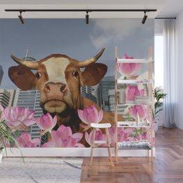 Singapur Skyline with Lotos Flowers and brown Cow Illustration Wall Mural
