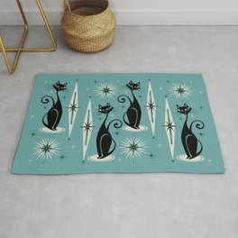 Mid Century Meow Retro Atomic Cats on Blue Rug