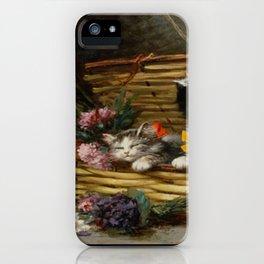 cute kitten 2- Leon Huber - A basket full of cat - pet,whikers,cat,kitty,kitten iPhone Case