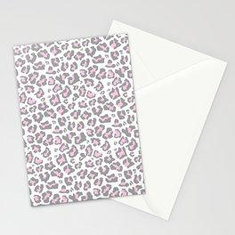 Pastel pink gray vector modern cheetah animal print Stationery Cards