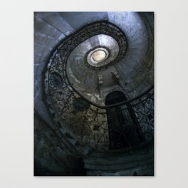 Spiral Staircase in blue and gray tones Canvas Print