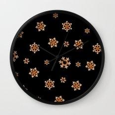 Snowflakes (Orange on Black) Wall Clock