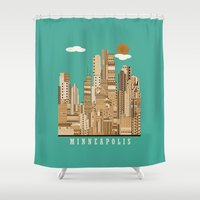 minneapolis Shower Curtains featuring Minneapolis skyline by bri.buckley