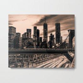 Traffic over the Brooklyn Bridge, New York City, Black & White Metal Print