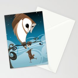 Barn Owl and Mouse Stationery Cards