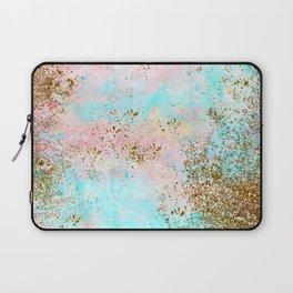 Pink and Gold Mermaid Sea Foam Glitter Laptop Sleeve