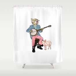 The Cat and the Banjo Shower Curtain