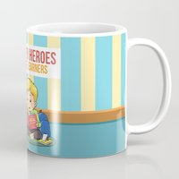 super heroes Mugs featuring Super Heroes Are Learners by youngmindz