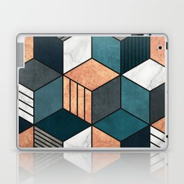 Copper, Marble and Concrete Cubes 2 with Blue Laptop & iPad Skin