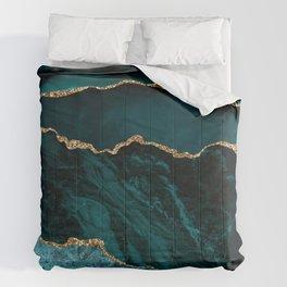 Teal Blue Emerald Marble Landscapes Comforters