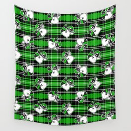 Cute punk raccoon on plaid background vector pattern.  Wall Tapestry