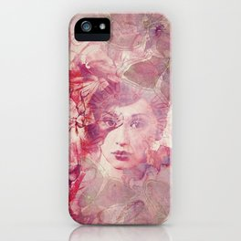 Lost Moments Woman Nostalgic Portrait In Shades Of Red iPhone Case