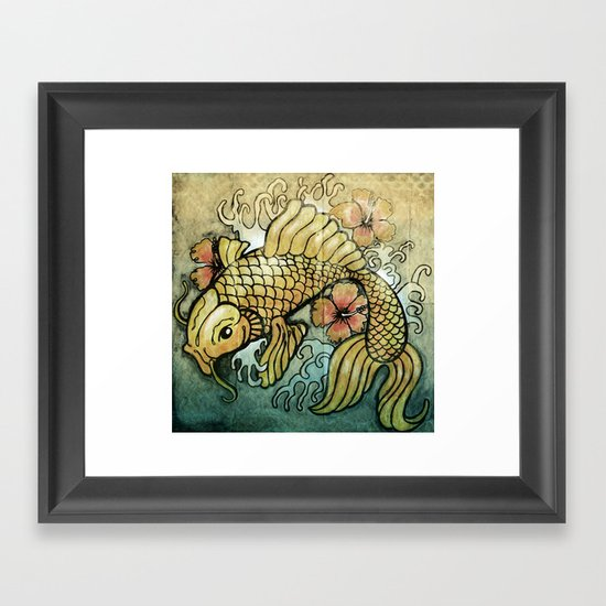 Koi Fish and Hibiscus  Framed Art Print