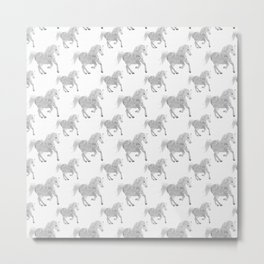 White Horse Pattern Metal Print