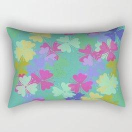 Multicoloured Blossoms Digital Illustrated Floral Battern Rectangular Pillow