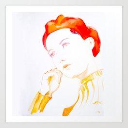 Jaune fille au beret rouge Art Print