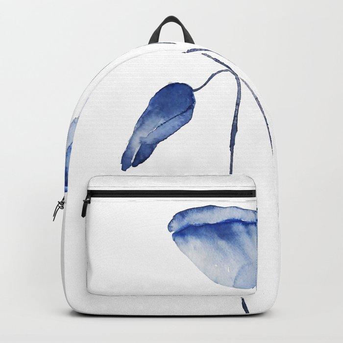 indigo poppy watercolor Backpack