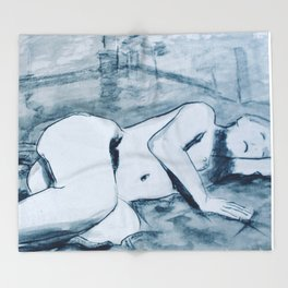 In the studio- charcoal and ink nude study of model reclining. Throw Blanket
