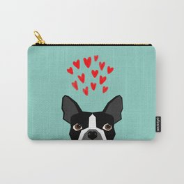 Boston Terrier - Hearts, Cute Funny Dog Cute Valentines Dog, Pet, Cute, Animal, Dog Love,  Carry-All Pouch