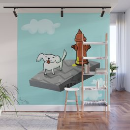 Dog in the sky peeing - Illustration Wall Mural