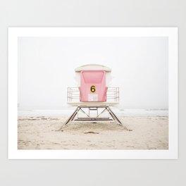 Beach photography pink tower Art Print