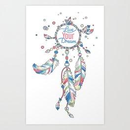 Live Your Dream Dream Catcher - Pastel Colors Art Print